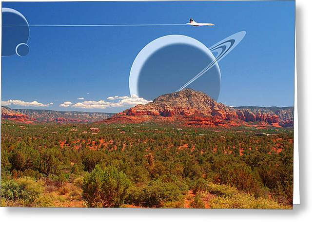 Saturn Rising Greeting Card by Larry Mulvehill