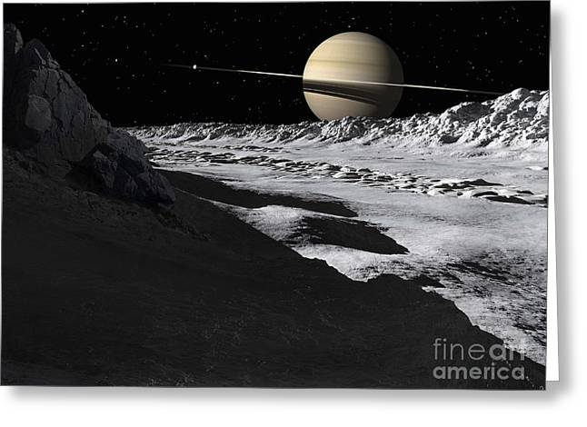 Saturns Moon, Tethys, Is Split By An Greeting Card by Ron Miller