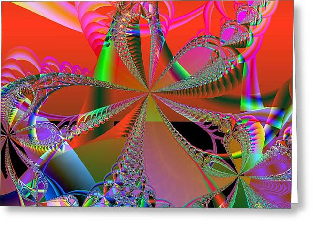 Greeting Card featuring the digital art Saucy Bows by Ann Peck