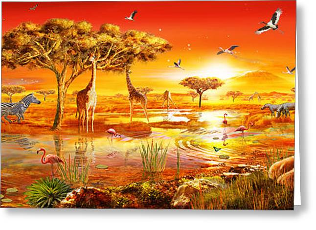 Lions Greeting Cards - Savanna Sundown Greeting Card by Adrian Chesterman