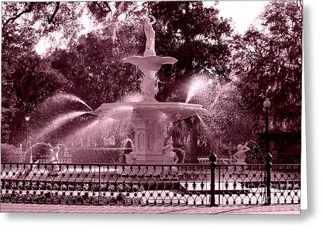 Savannah Fountain In Pink Greeting Card by Carol Groenen
