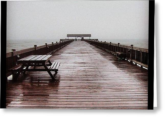 #savannahgeorgia #tybeeisland #pier Greeting Card by  Abril Andrade Griffith