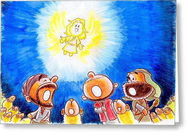 Saviour Has Come To Birth Greeting Card by Masahiro Tajima
