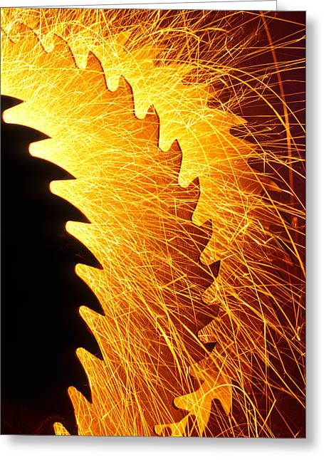 Saw Blades With Sparks Greeting Card by Garry Gay