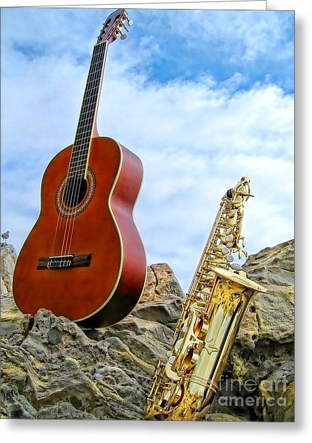 Sax And Guitar Greeting Card by Jason Abando