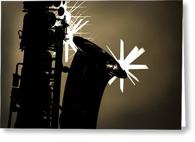 Sax Black And White Greeting Card by M K  Miller