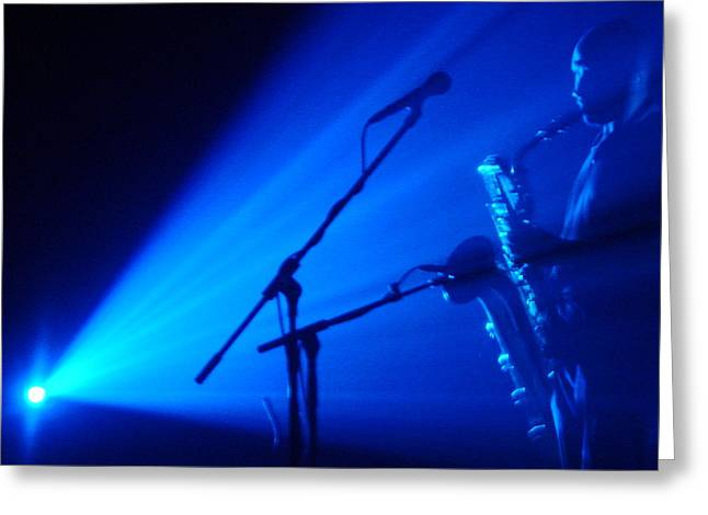 Sax In Blue Greeting Card by Anthony Citro