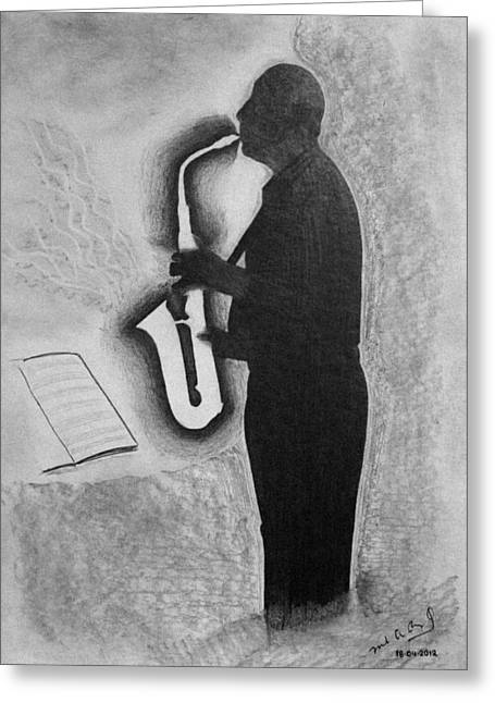 Sax Player Silhouette Greeting Card by Miguel Rodriguez