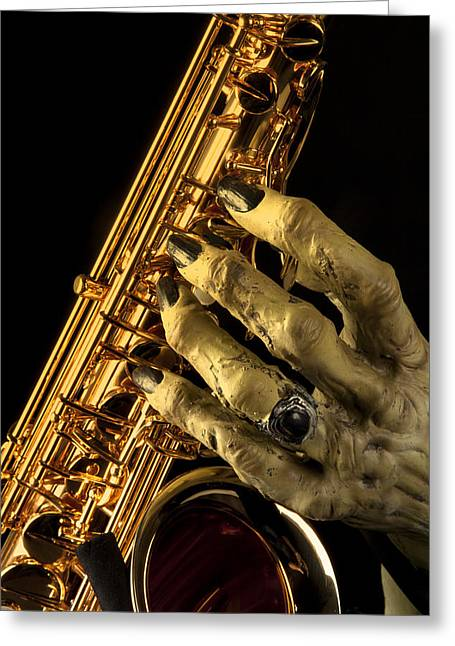 Saxophone Monster Hand Greeting Card by M K  Miller