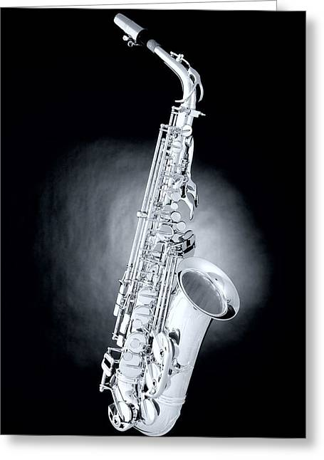 Saxophone On Spotlight Greeting Card by M K  Miller