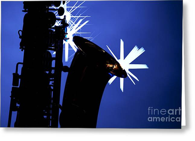 Saxophone Silhouette On Blue Greeting Card by M K  Miller