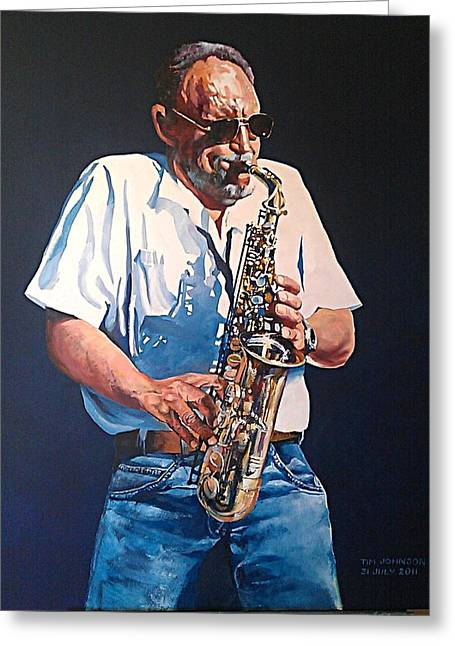 Greeting Card featuring the painting Saxophone by Tim Johnson