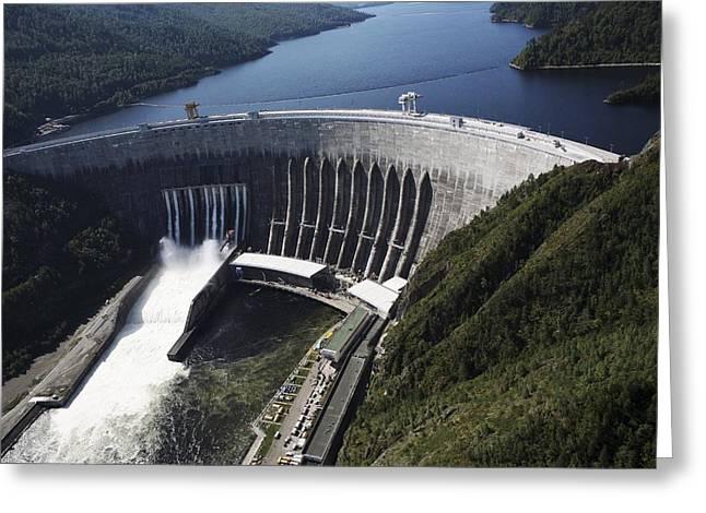 Sayano-shushenskaya Hydroelectric Dam Greeting Card by Ria Novosti