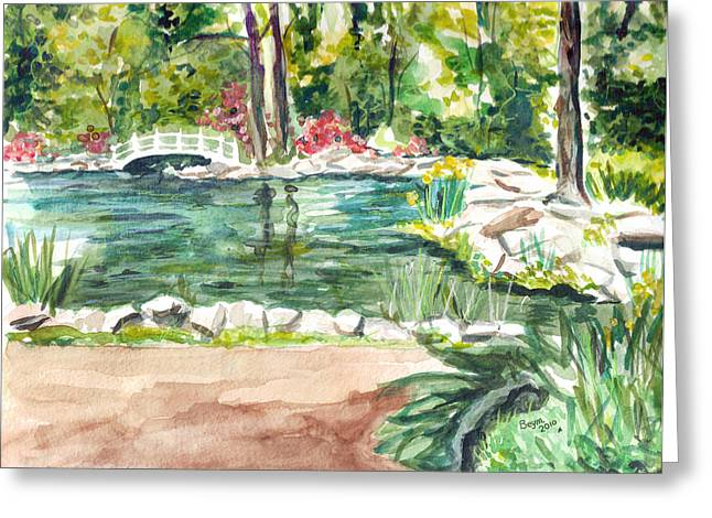 Greeting Card featuring the painting Sayen Pond by Clara Sue Beym