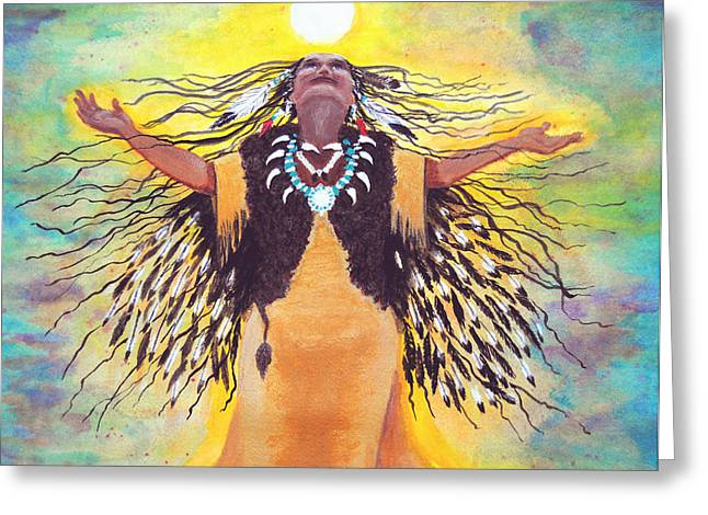 Saying Good Morning To The Sun Greeting Card by Vallee Johnson