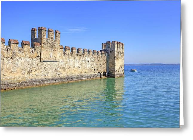 Scaliger Castle Wall Of Sirmione In Lake Garda Greeting Card