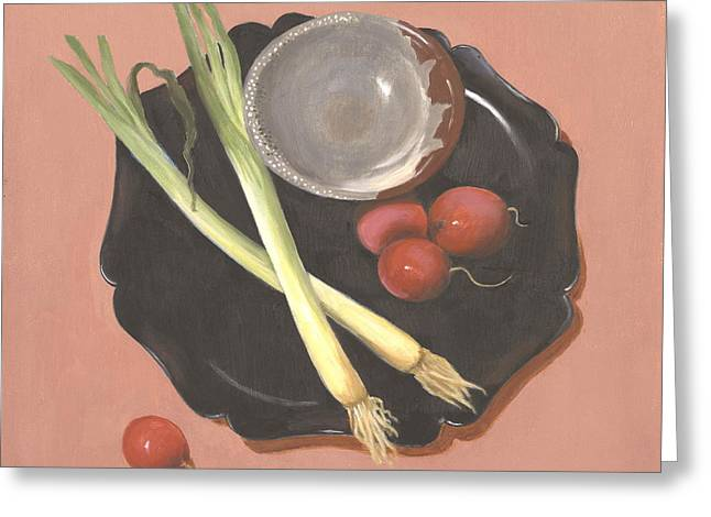 Scallions And Radishes Greeting Card by Meredith Dytch