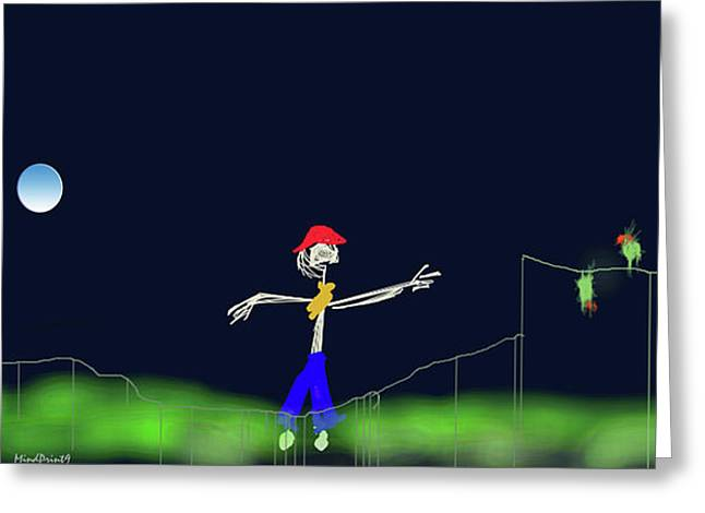 Greeting Card featuring the digital art Scarecrow by Asok Mukhopadhyay