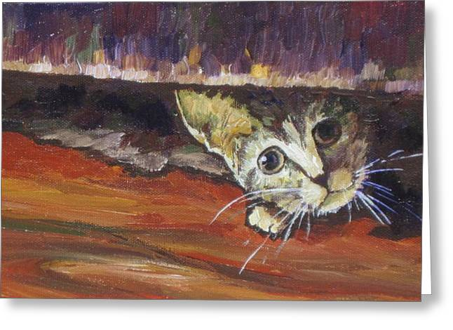 Scaredy Cat Greeting Card by Sandy Tracey