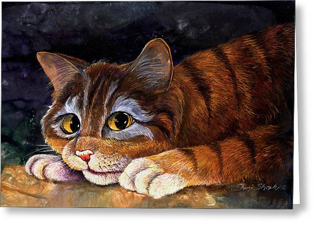 Scaredy Cat Greeting Card by Sherry Shipley