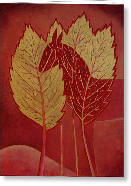 Greeting Card featuring the painting Scarlet Dream by Tone Aanderaa