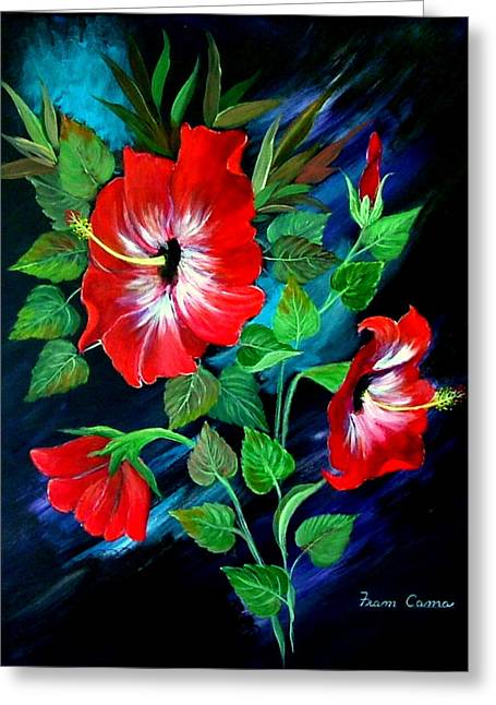 Greeting Card featuring the painting Scarlet Hibiscus by Fram Cama
