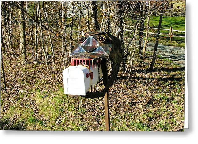 Greeting Card featuring the photograph Scary Mailbox 3 by Sherman Perry