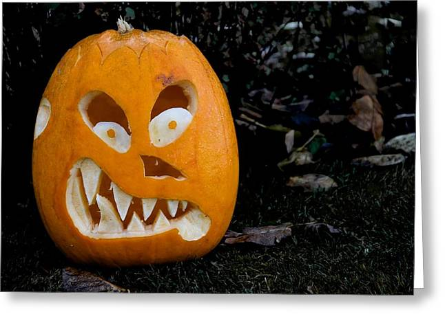 Scary Pumpkin Greeting Card by Odd Jeppesen