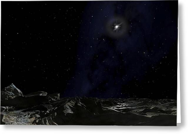 Scene On A Planet Orbiting The Pulsar Greeting Card by Ron Miller