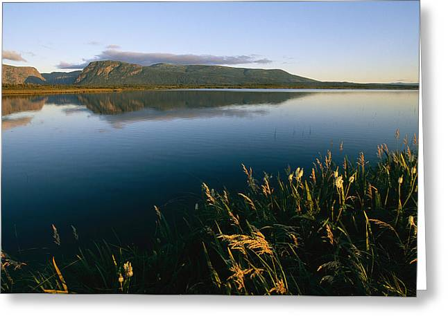 Scenic View Of A Large Pond And Hills Greeting Card