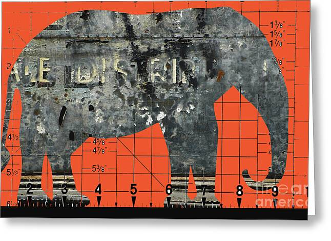 Schematic Elephant Juvenile Art Greeting Card