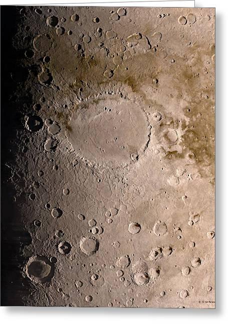 Schiaparelli Crater, Mars, Artwork Greeting Card