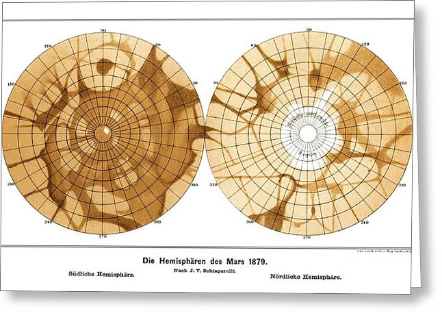 Schiaparelli's Map Of Mars, 1879 Greeting Card