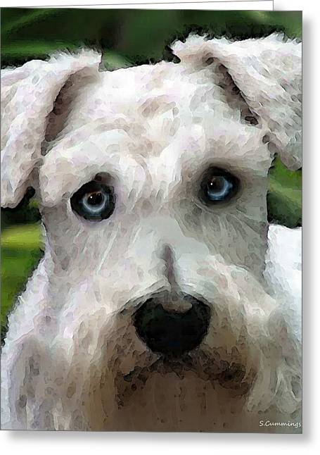 Schnauzer Art - Smokey Greeting Card by Sharon Cummings