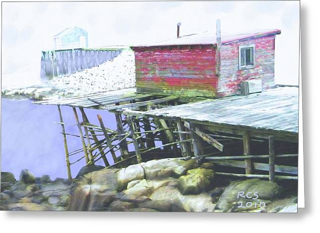 Schoodic Pier Greeting Card by Richard Stevens