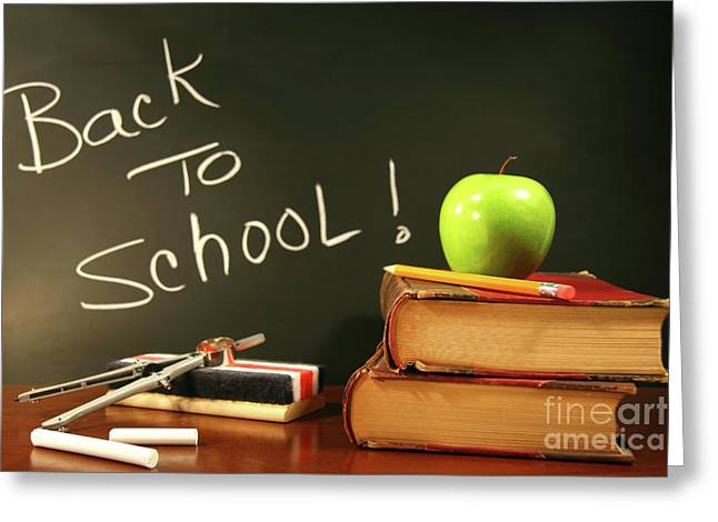 School Books With Apple On Desk Greeting Card by Sandra Cunningham