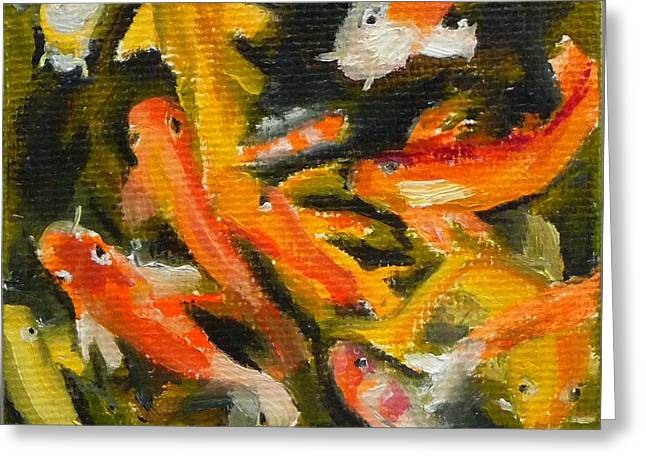 School Of Koi Greeting Card by Jessmyne Stephenson