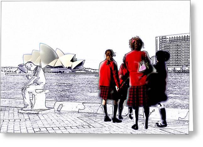 Schoolgirls @ Sydney Opera House Greeting Card by Harry Neelam