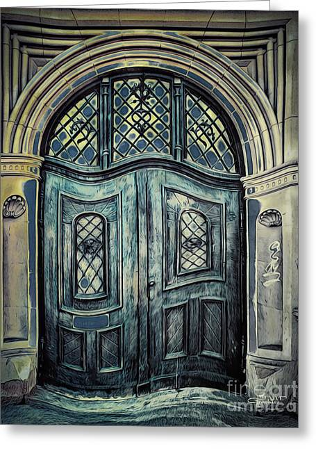 Schoolhouse Entrance Greeting Card by Jutta Maria Pusl