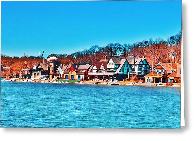 Schuylkill Navy Boat House Row Greeting Card
