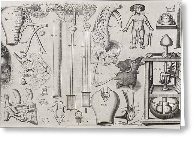 Science Illustrations, 17th Century Greeting Card by Middle Temple Library