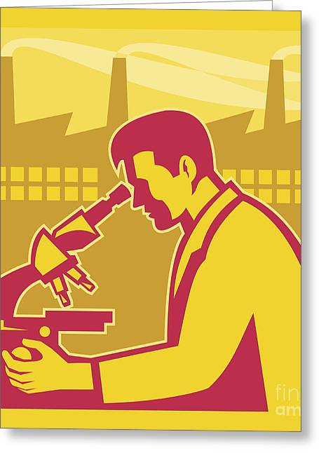 Scientist Researcher Factory Building Retro Greeting Card by Aloysius Patrimonio