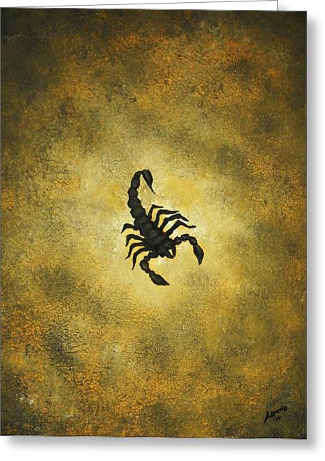 Greeting Card featuring the painting Scorpion by Edwin Alverio
