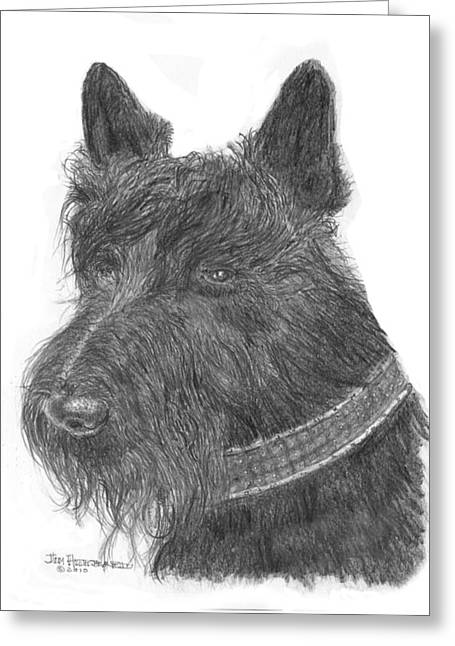 Greeting Card featuring the drawing Scottish Terrier by Jim Hubbard