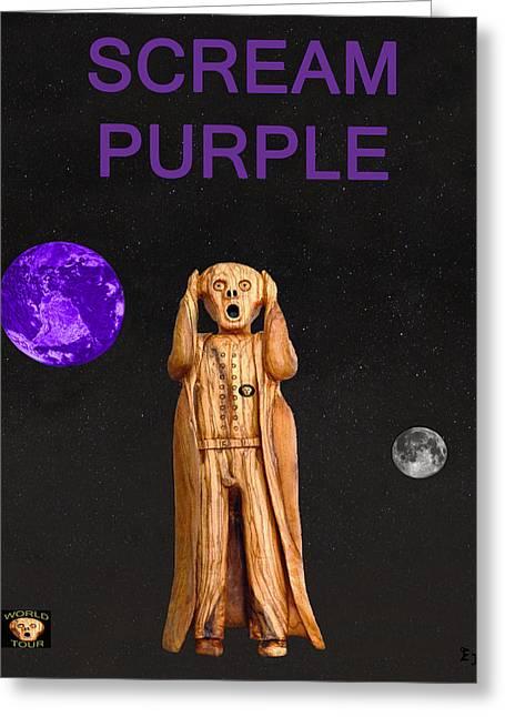 Scream Purple Greeting Card by Eric Kempson