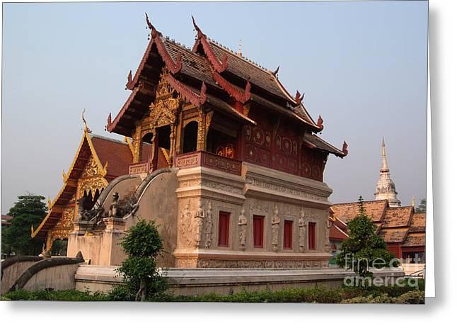 Scripture Repository Wat Phra Singh Chiang Mai Greeting Card by Opas Chotiphantawanon