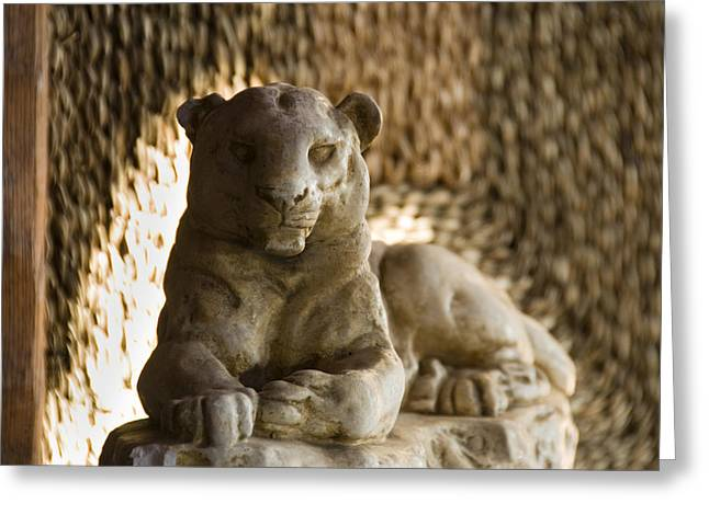Sculpture Of A Lion Against A Rattan Greeting Card
