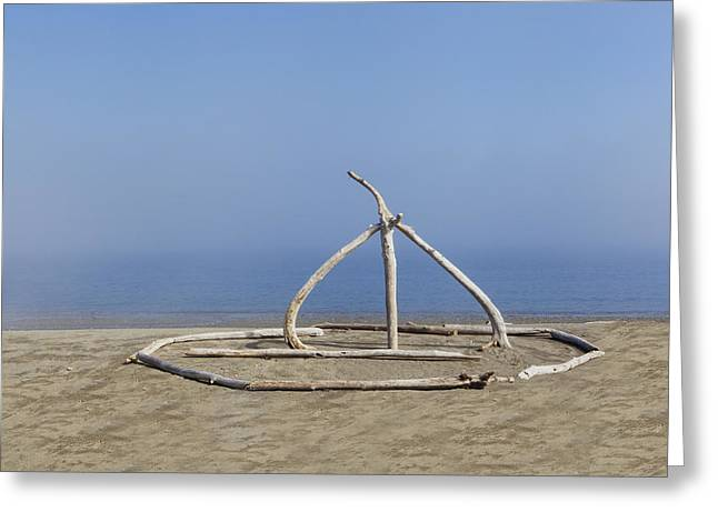 Sculpture On Beach Made Of Driftwood Greeting Card