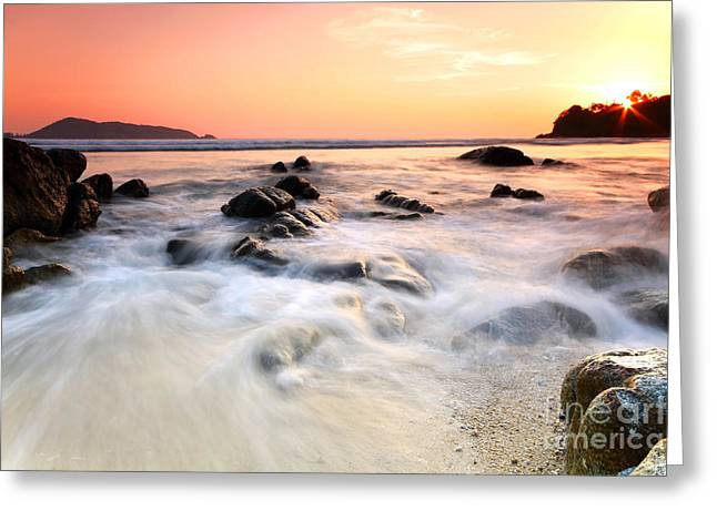 Sea And Rock At The Sunset. Nature Composition.  Greeting Card
