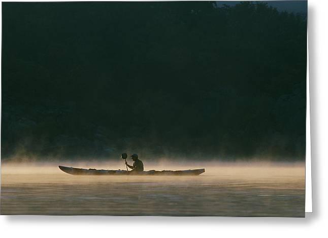 Sea Kayak Silhouette On Potomac River Greeting Card by Skip Brown